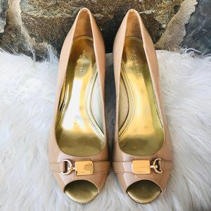 Coach Nude Peep Toe Wedges Patent Leather Fall